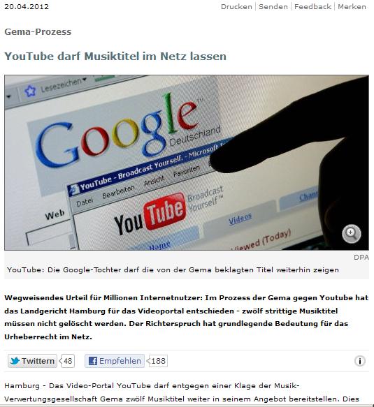 YouTube darf - irrtümlich Alternativmeldung veröffentlicht