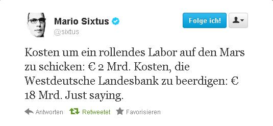 @Sixtus' Tweet über Curiosity