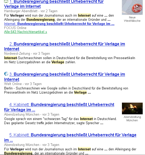 Google News-Suche, Screenshot