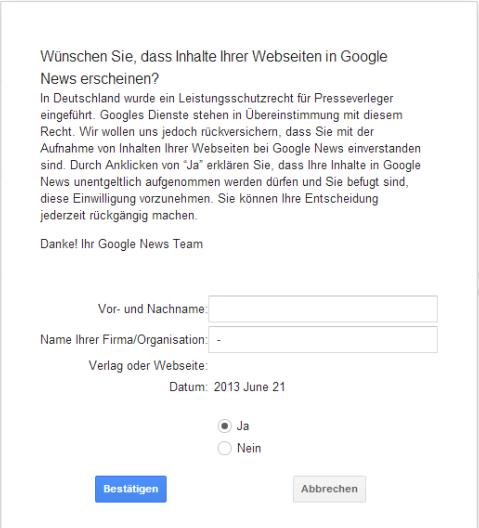 Google News-Bestätigungserklärung